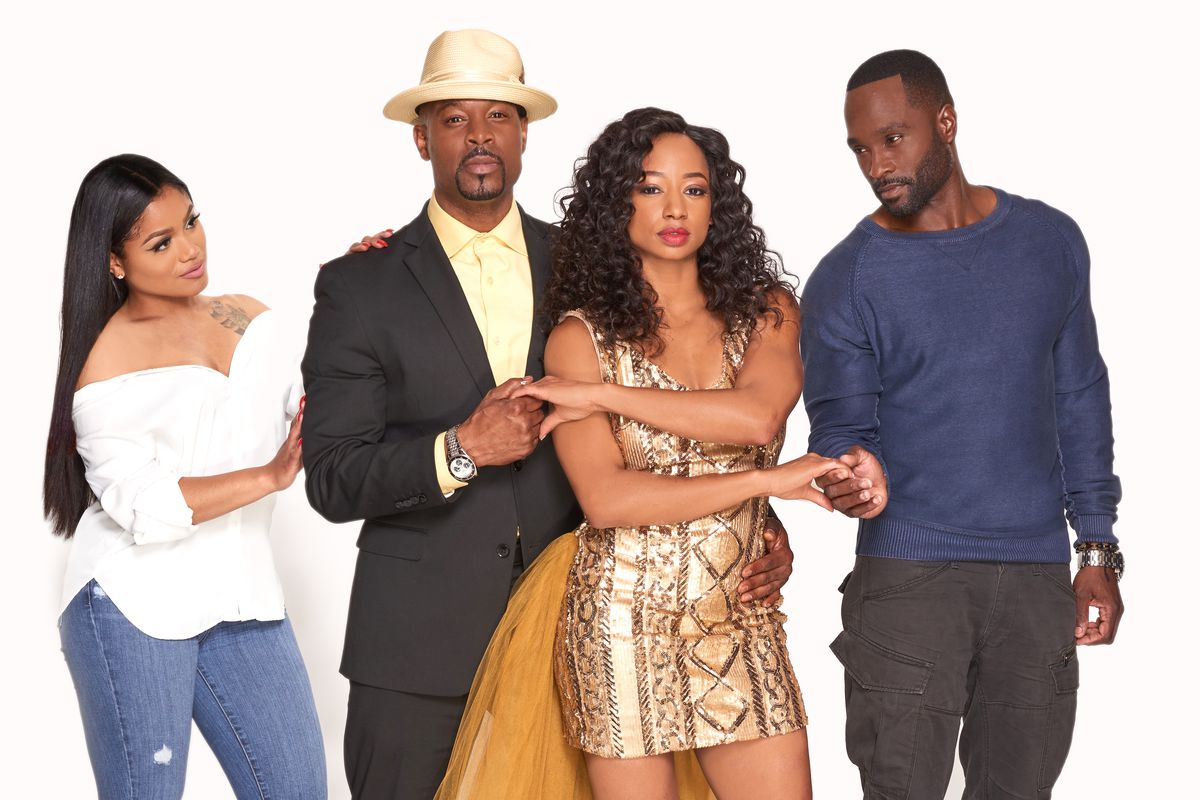 """Erika Pinkett (from left), Darrin Henson, Monique Coleman and Mykel Shannon Jenkins star in """"Steppin' Back to Love."""""""