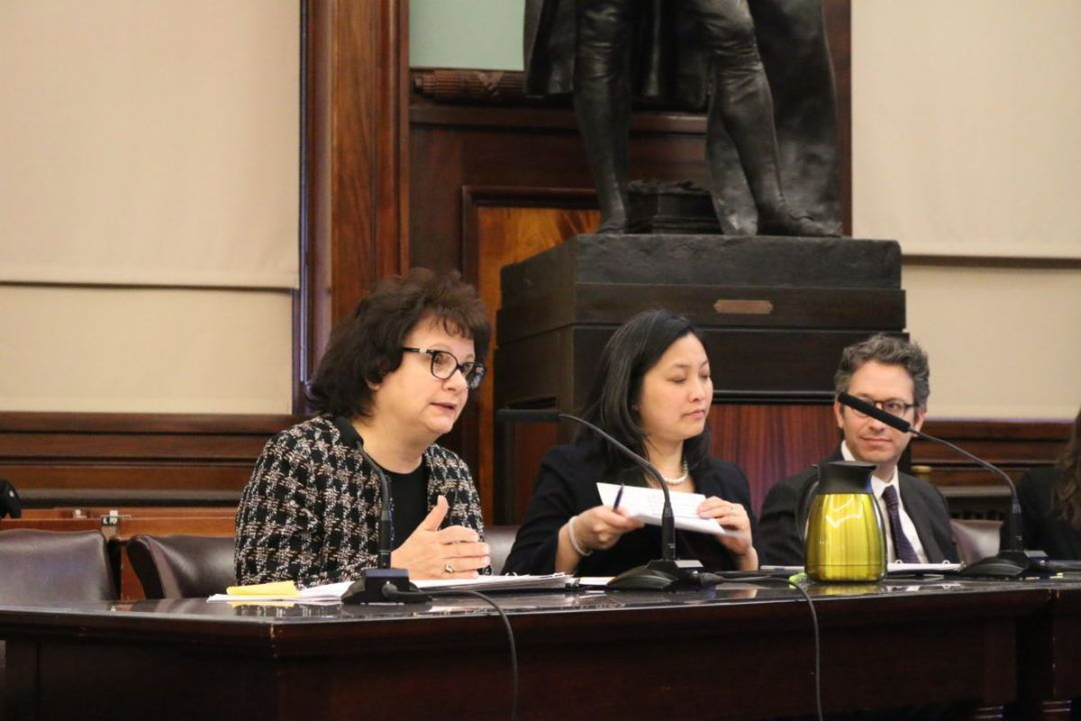Corinne Rello-Anselmi (left) testifies among senior education department officials at a City Council hearing on special education.