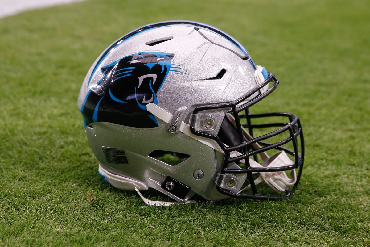 A Carolina Panthers helmet on the field before the NFL football game between the Carolina Panthers and the Arizona Cardinals on September 22, 2019 at State Farm Stadium in Glendale, Arizona.