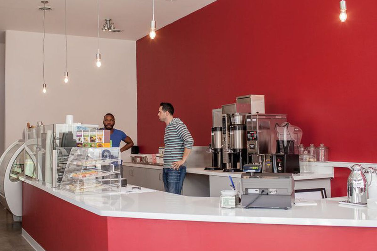 Owner Aaron Haithcock (left) at Melt gelato and espresso in October 2013.