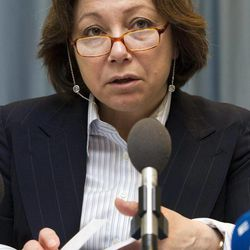 Bassma Kodmani, a spokeswoman for the largest opposition group, the Syrian National Council, speaks during a news conference about developments in Syria, in Geneva, Switzerland, Tuesday, April 10, 2012.