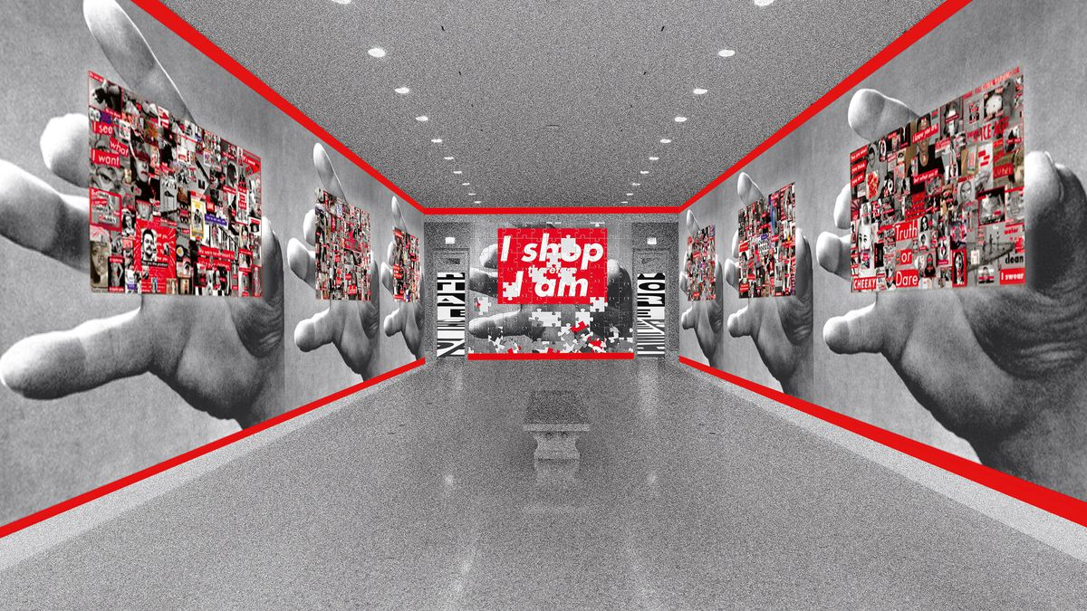 Barbara Kruger's rendering of exhibition entryway at the Art Institute of Chicago,