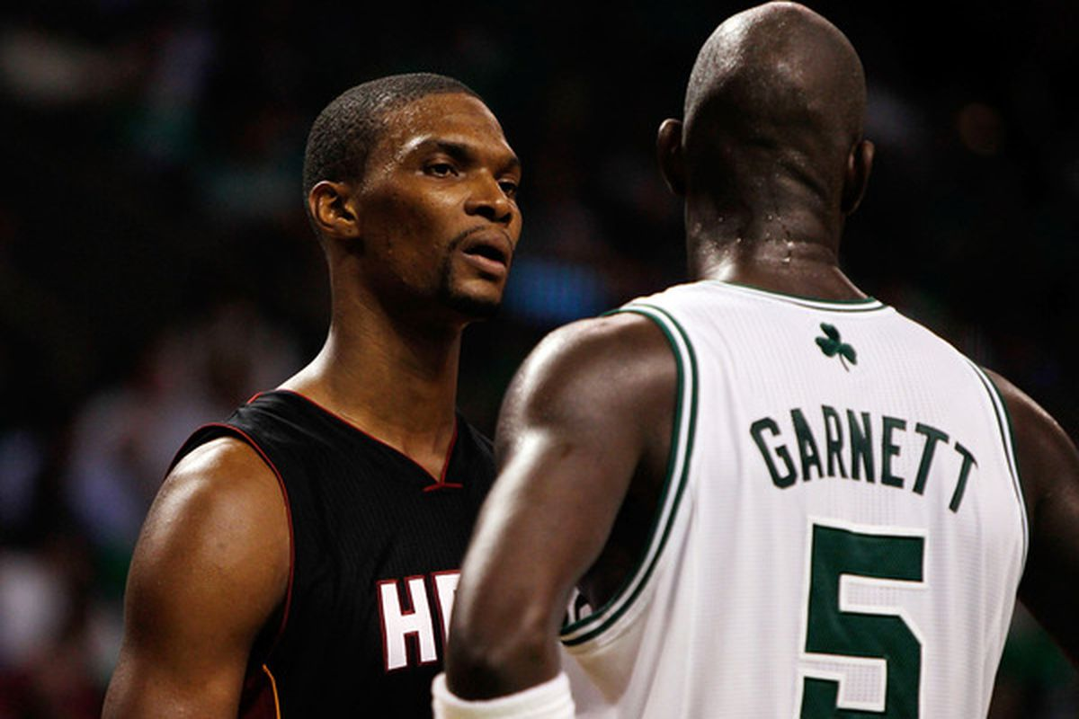 Bosh: Are you swearin at me? Are you swearin at me? Well you must be swearin' at me, because I'm the only over-hyped, overly self-important, soft-defense playing power forward out here. Garnett: I was swearin at the stanchion. But you can listen.