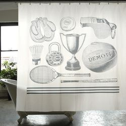 "<span class=""credit""><b>Izola</b> Sport Canvas Shower Curtain, <a href=""http://www.izola.com/products/sport-cotton-shower-curtain"">$55</a></span><p>"