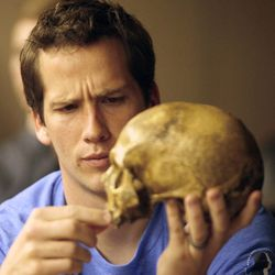 Joshua Speirs studies a model skull during an evolutionary biology class at BYU in Provo on Friday, March 30, 2012.