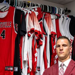 Grantsville High School basketball coach and former BYU basketball player Nate Austin poses for a portrait at Grantsville High School in Grantsville on Thursday, May 13, 2021.