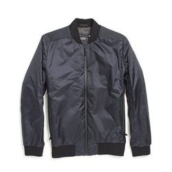"""Apolis Transit Issue Bomber Jacket in Navy, <a href=""""http://store.apolisglobal.com/transit-issue/transit-issue-bomber-jacket/#navy"""">$278</a>"""