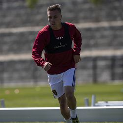 Real Salt Lake's Corey Baird trains during the first day of voluntary individual training at the RSL Academy on Thursday, May 7, 2020.