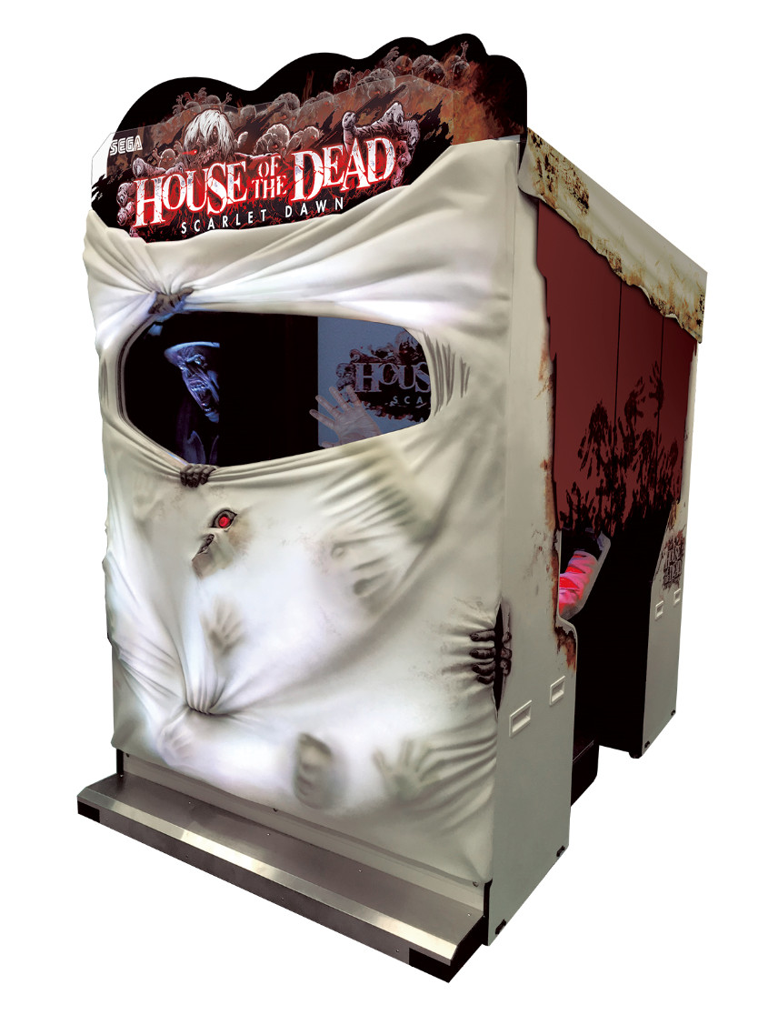 The arcade cabinet for House of the Dead Scarlet Dawn features plastic zombies ripping through white fabric.