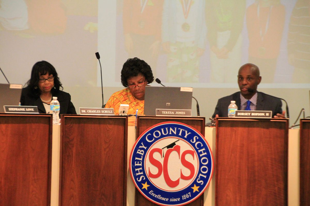 Board Chair Teresa Jones (center) and Superintendent Dorsey Hopson at a work session on June 23, 2015.