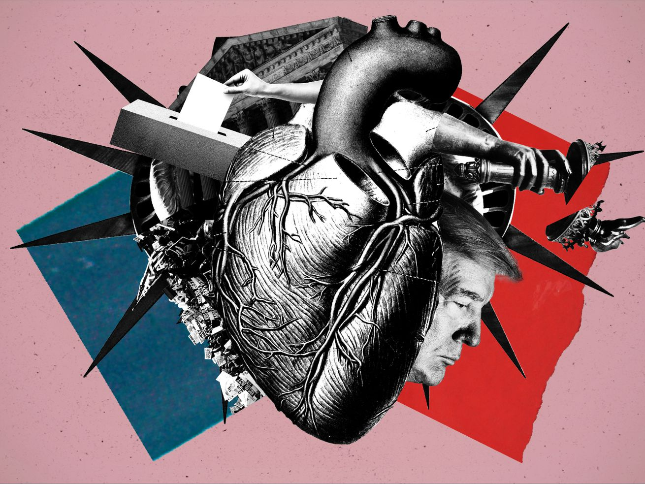 An illustration of a heart with a ballot box, Trump, and the Statue of Liberty.