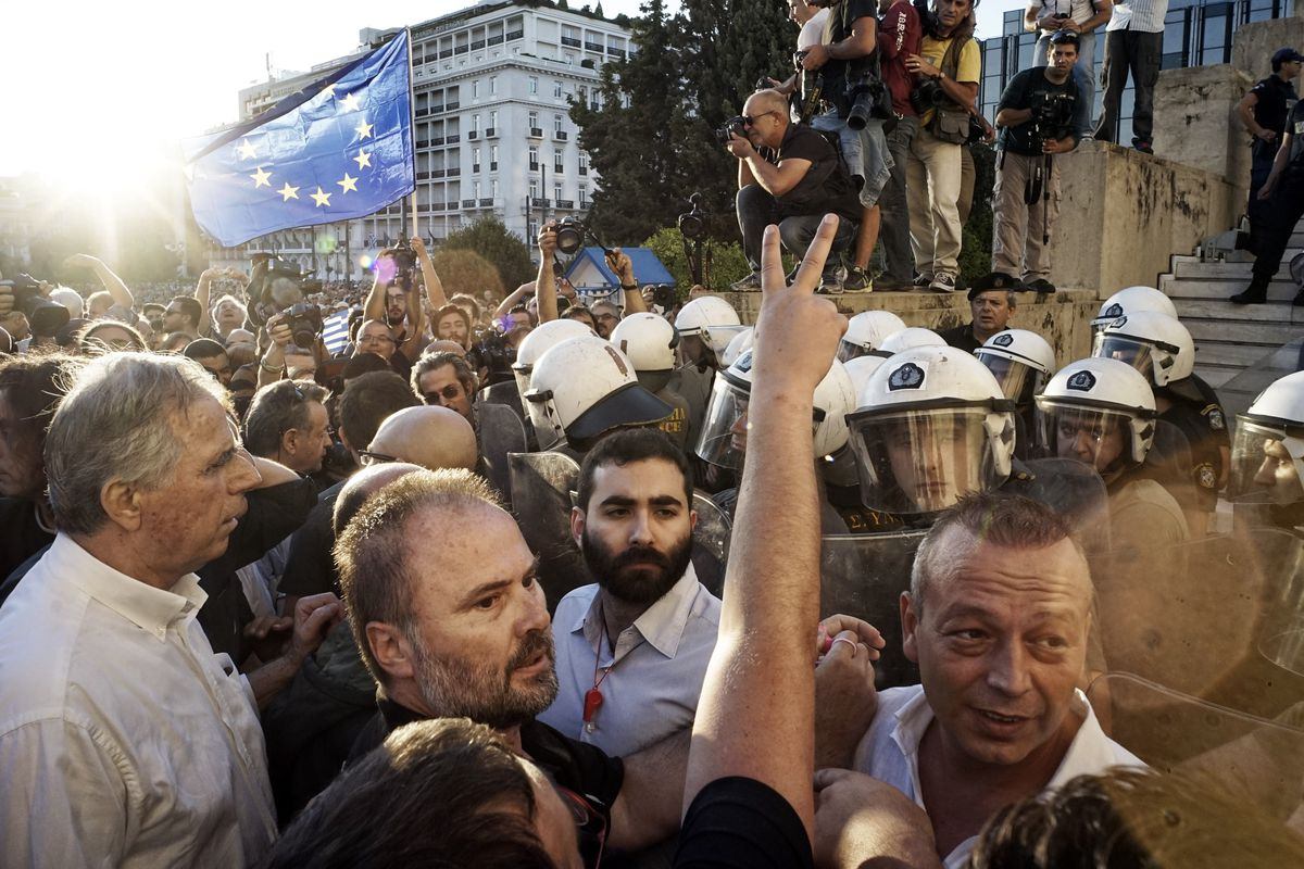 A rally over the economic crisis in Athens, Greece. It's also a health crisis.