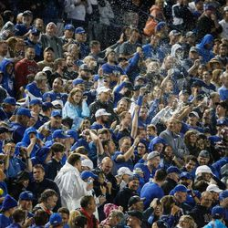Fans cheer as BYU and Utah compete during the second half of an NCAA college football gameat LaVell Edwards Stadium in Provo on Saturday, Sept. 11, 2021. BYU won 26-17.
