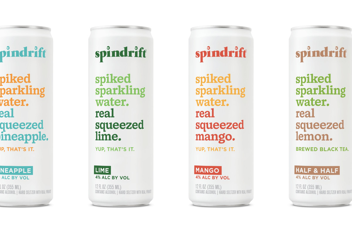 Four cans of spindrift spiked seltzer, in flavors pineapple, lime, mango and half and half, against a white background