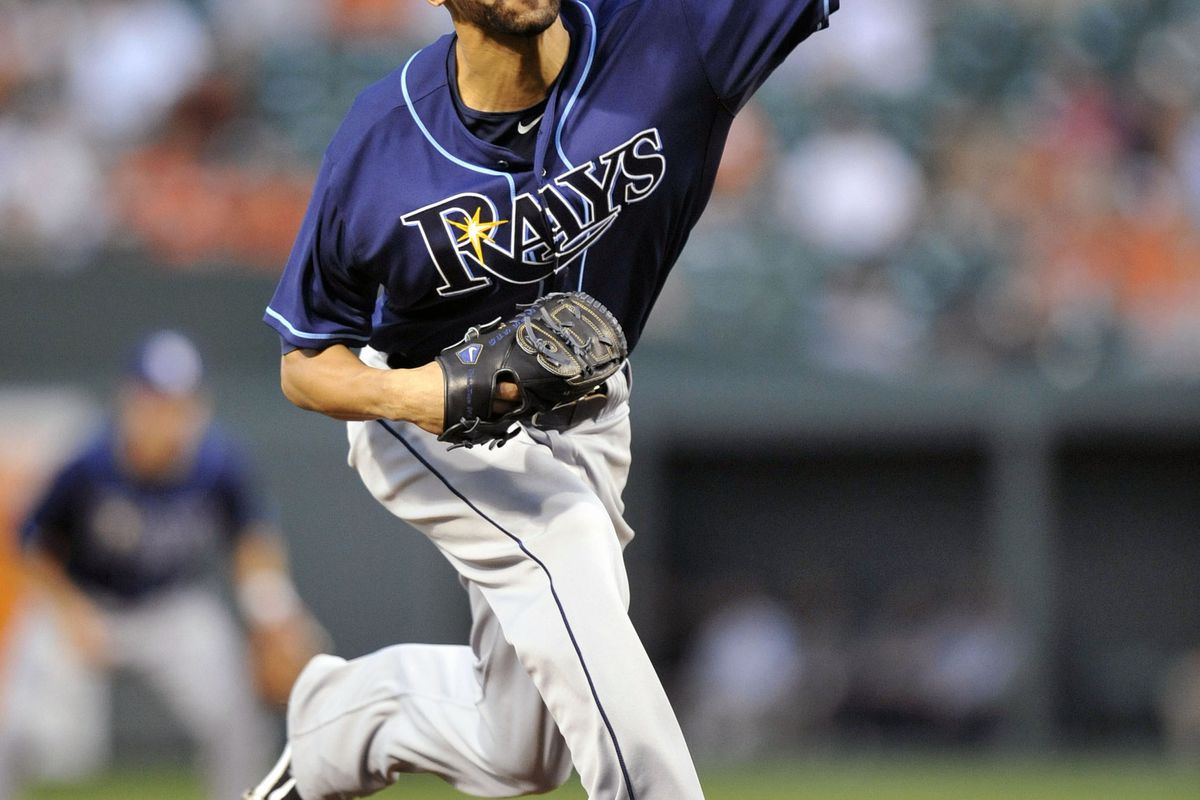 July 25, 2012; Baltimore, MD, USA; Tampa Bay Rays starting pitcher David Price (14) pitches in the third inning against the Baltimore Orioles at Oriole Park at Camden Yards. Mandatory Credit: Joy R. Absalon-US PRESSWIRE