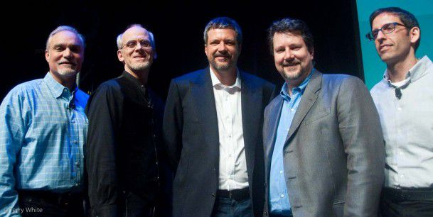 Celebrating 25 years of Photoshop ([eft to right) Adobe SVP Johnny L; Sr. Creative Director Russell Preston Brown; Thomas Knoll; John Knoll; Photoshop Product Manager Kevin Connor