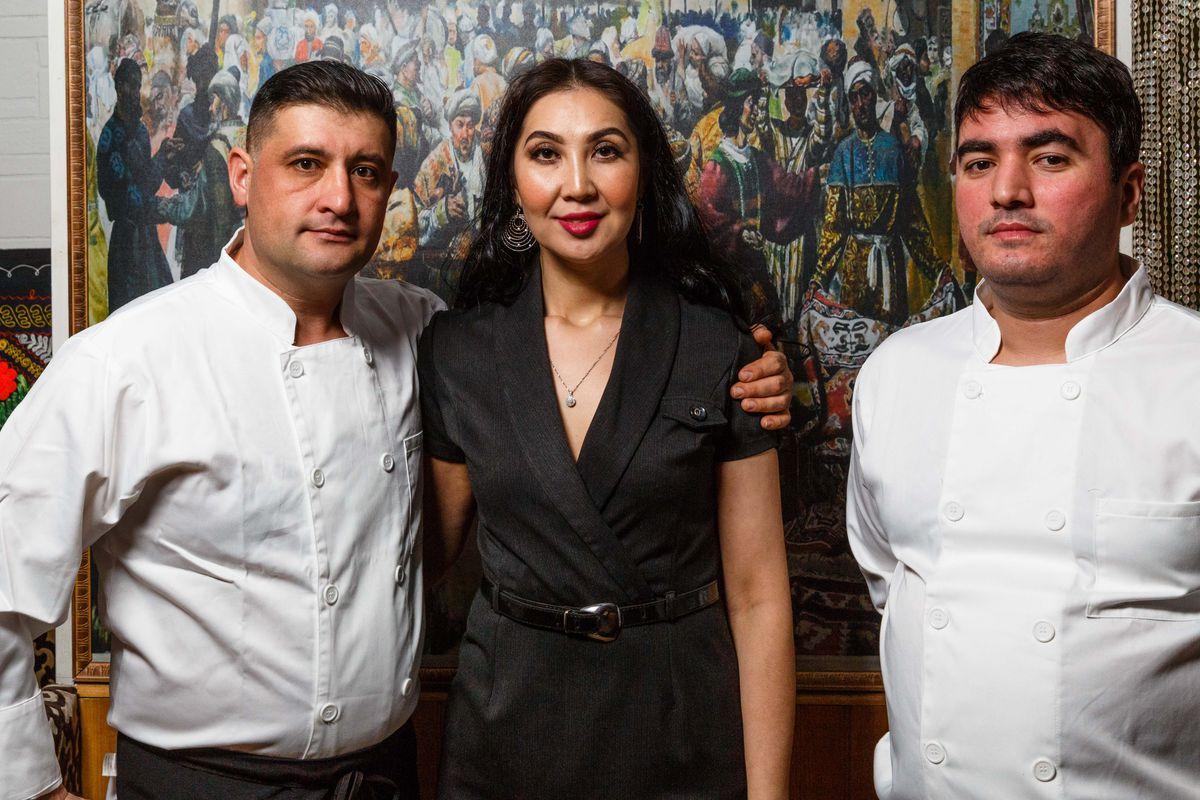 Left to right: Umitjon Kamolov, Farida Gabbassova-Ricciardelli, and Firdavs Saidov