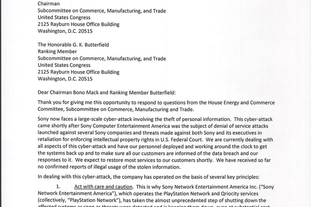 Sony's letter to Congress provides timeline for PlayStation