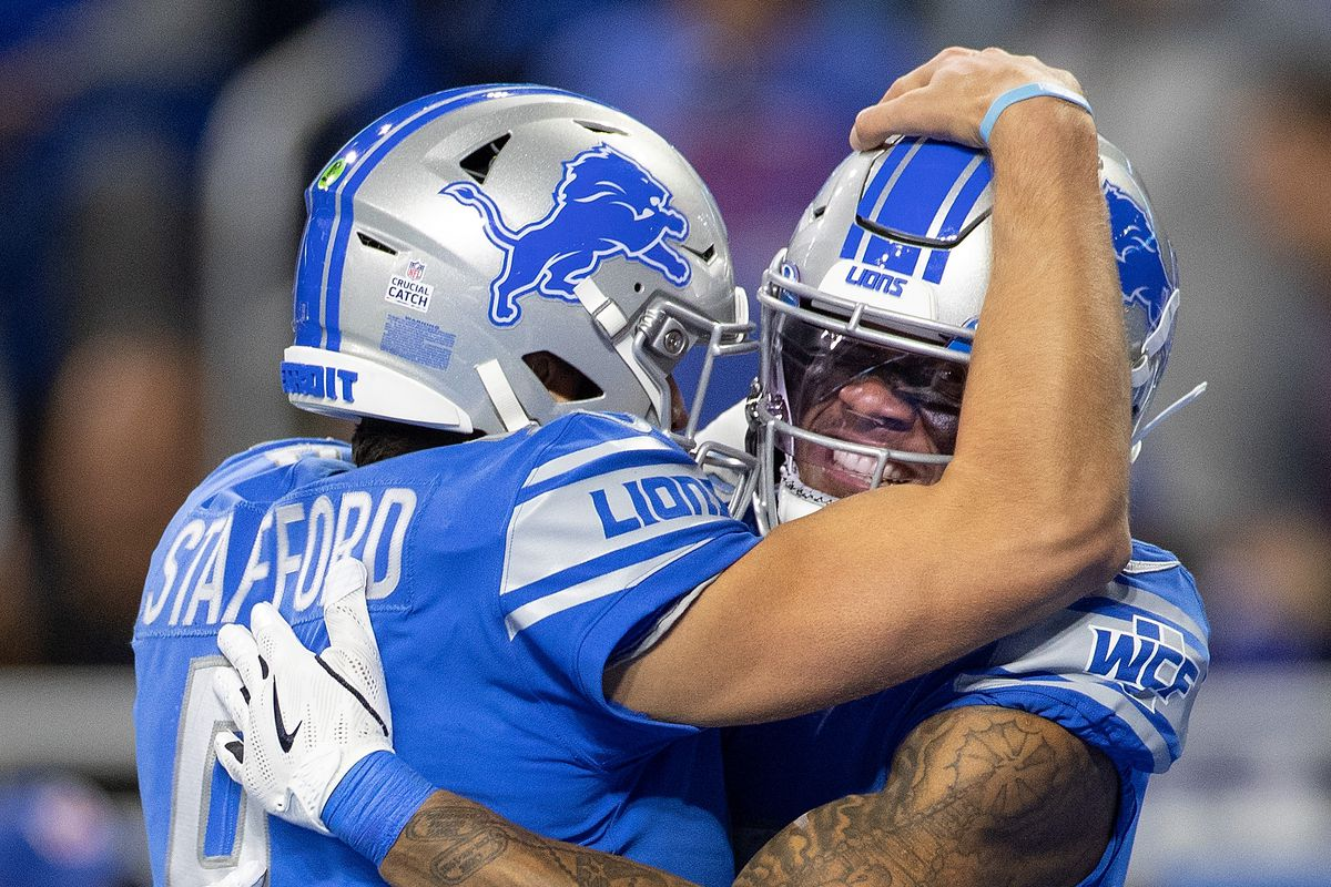 Matthew Stafford #9 of the Detroit Lions and Kenny Golladay #19 celebrate a fourth quarter touchdown during the game against the New York Giants at Ford Field on October 27, 2019 in Detroit, Michigan.