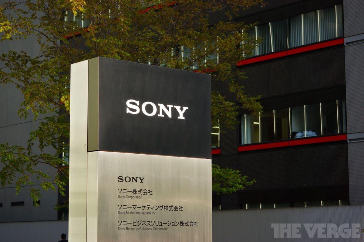 sony logo building stock