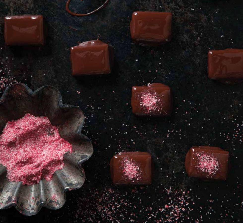 Theo Chocolate's raspberry chocolate ganache truffles
