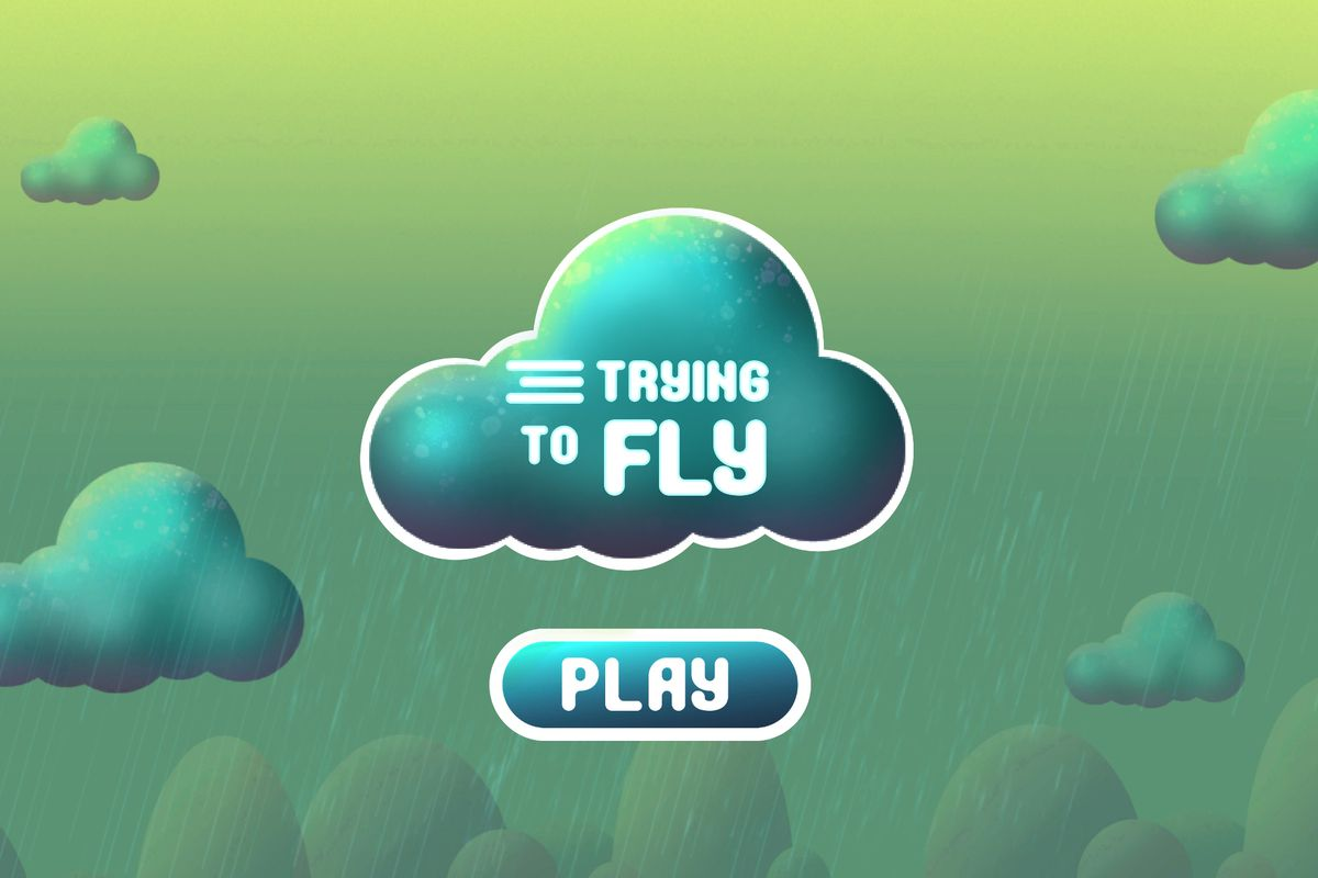 The title screen for Trying to Fly shows green clouds in rain outlined in white.
