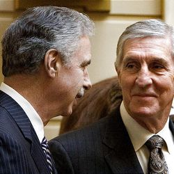 Recently retired Utah Jazz coaches Phil Johnson and Jerry Sloan are honored in the Senate at the Utah State Capitol on Monday, March 7, 2011.