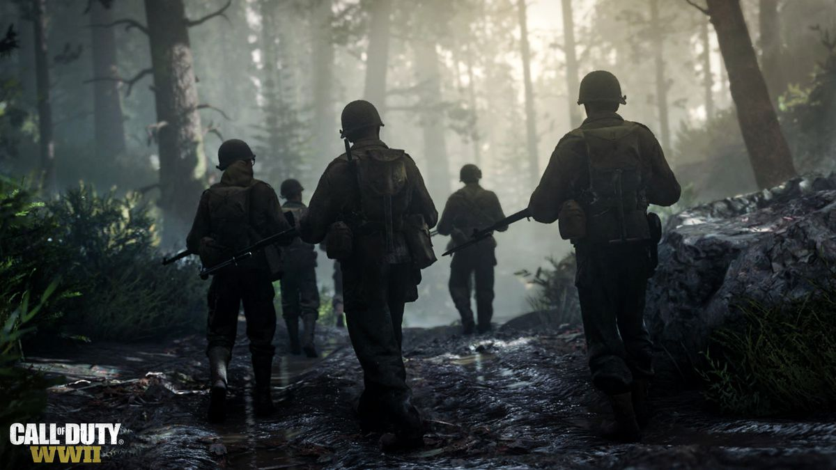 Call of Duty: WWII - soldiers walk through the morning fog