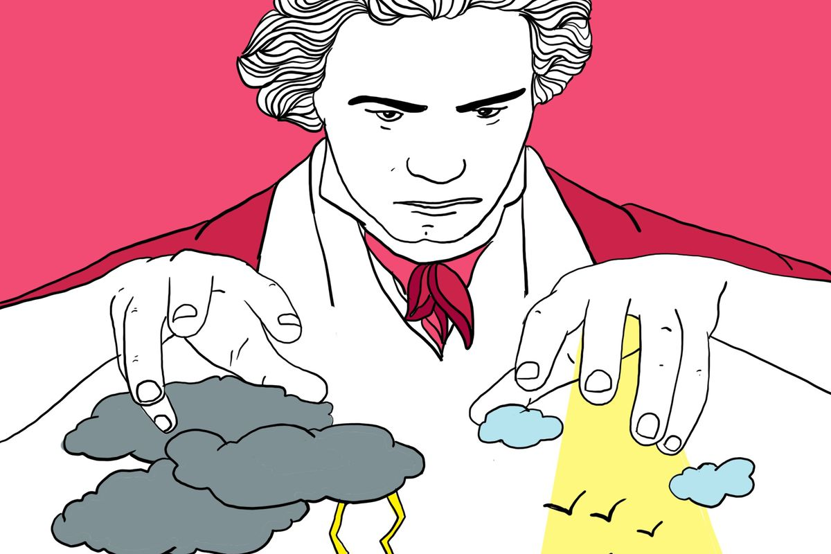 An illustration of Beethoven composing his famous Fifth Symphony by moving symbolic storm clouds with this hands.