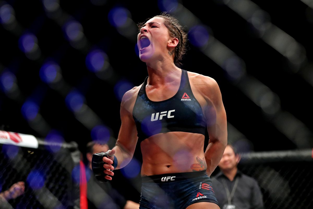 Jessica Eye after her win against Jessica-Rose Clark in 2018.