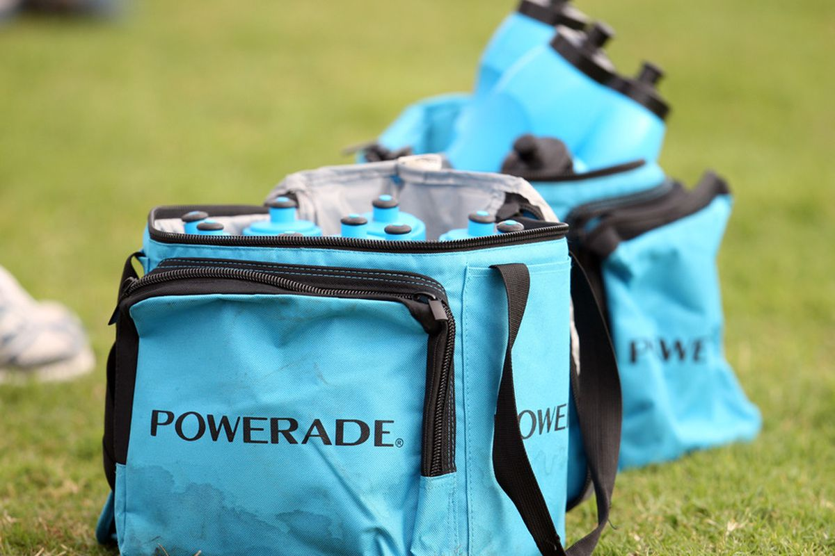 DURBAN, SOUTH AFRICA - MAY 03:  Powerade drinks  during the Brumbies training session at Northwood School on May 03, 2011 in Durban, South Africa..(Photo by Steve Haag/Gallo Images/Getty Images)