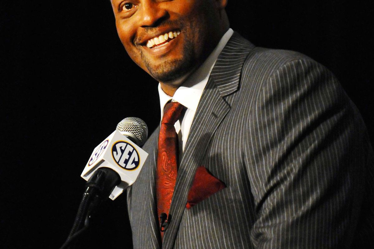 July 17, 2012; Hoover, AL, USA;  Texas A&M Aggies coach Kevin Sumlin speaks during the 2012 SEC media days event at the Wynfrey Hotel.   Mandatory Credit: Kelly Lambert-US PRESSWIRE