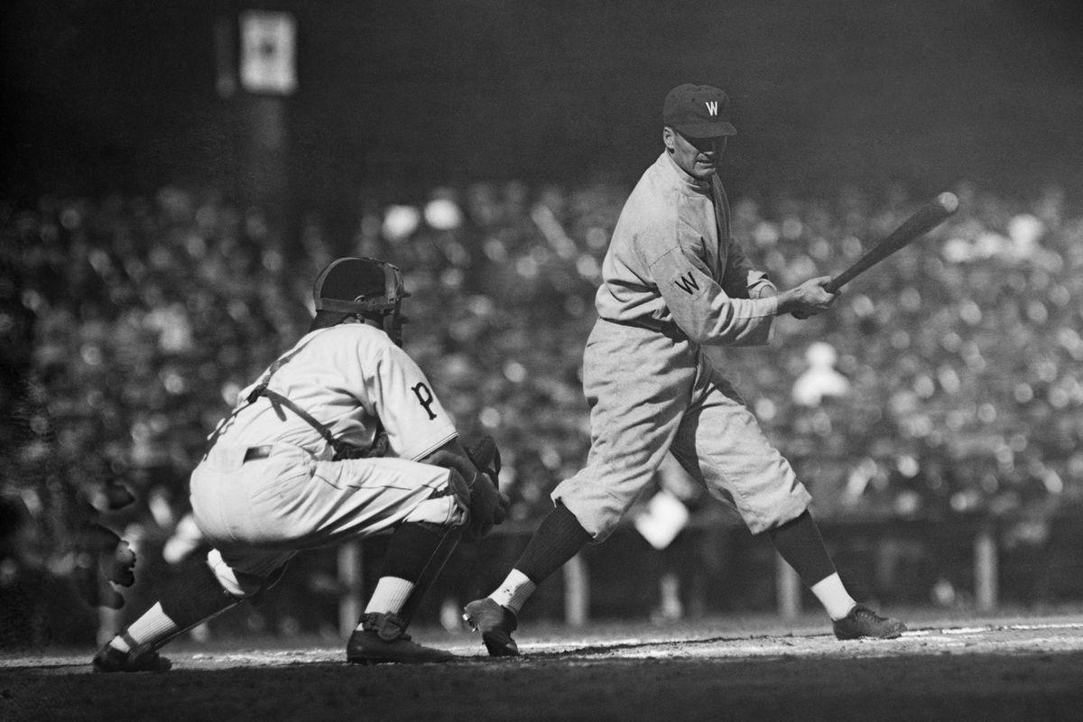 Walter Johnson Shown At Bat;World Series