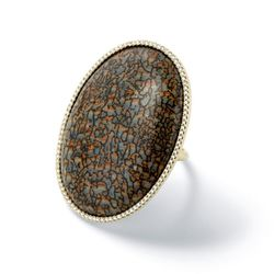 """<b>K'Atun Collection</b> Grey fossilized dinosaur bone oval cabochon ring, <a href=""""http://moniquepean.com/shop-1/rings/rcd577w-grey-fossilized-dinosaur-bone-oval-ring.html"""">$11,570</a>"""