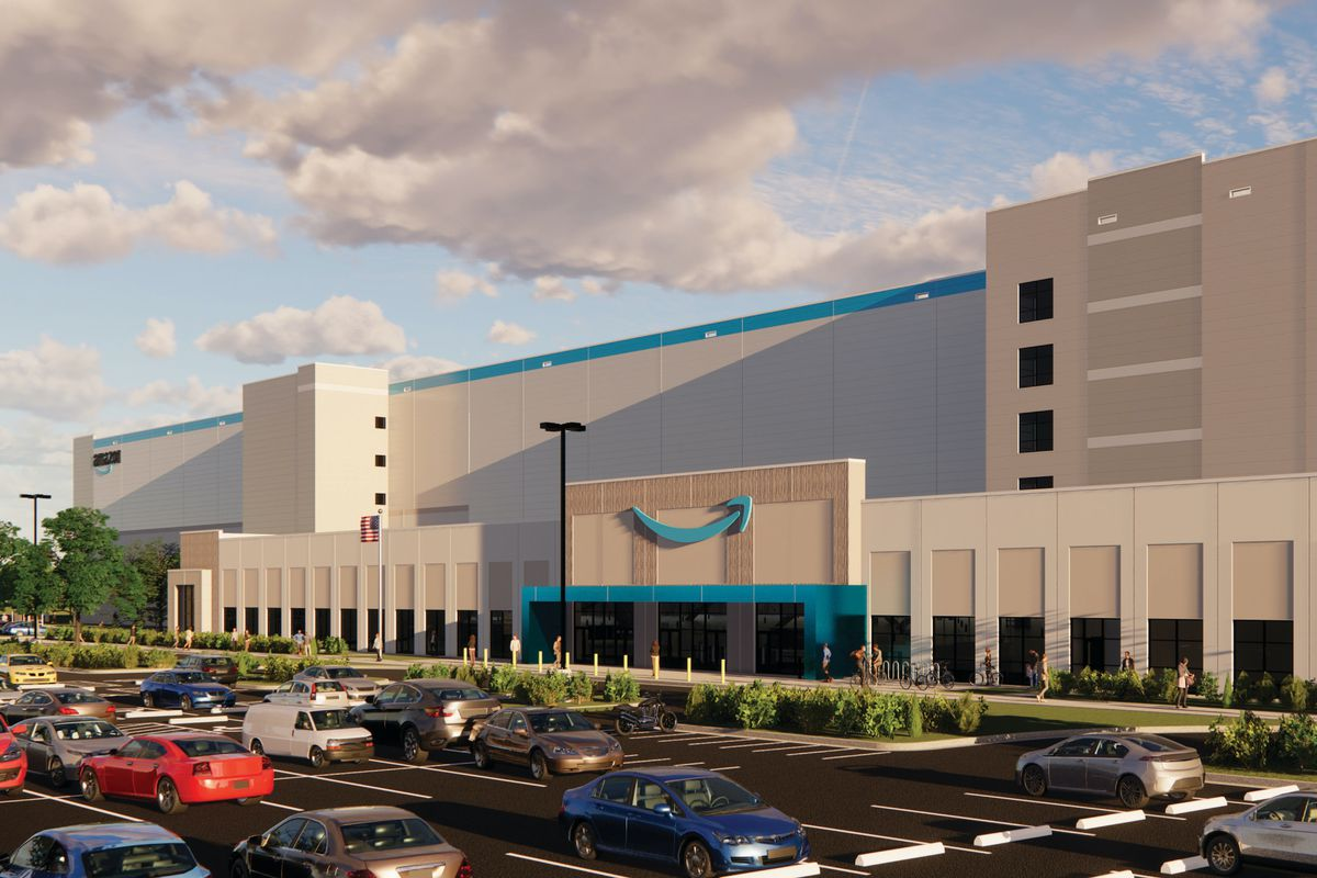 A rendering of an Amazon fulfillment center.