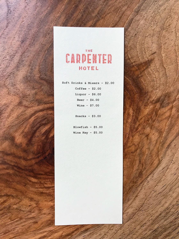The Carpenter Hotel mini bar menu