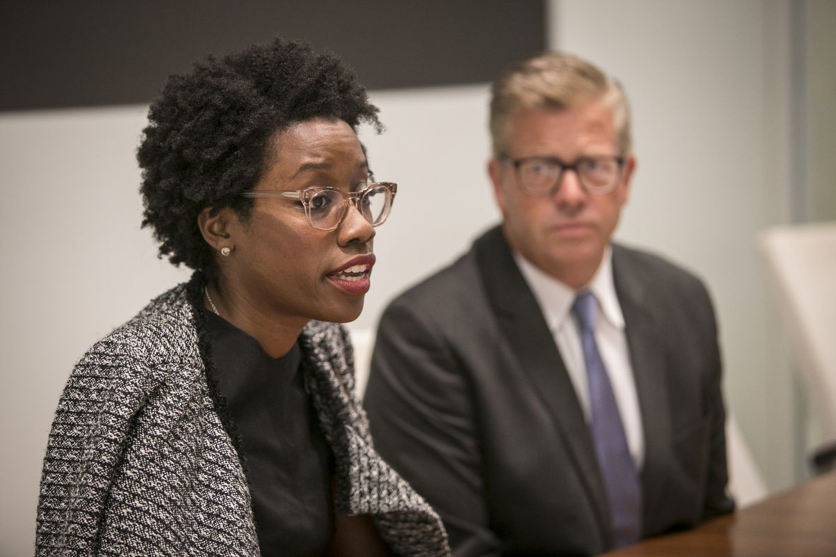 """Nominees for U.S. Congress, Democrat Lauren Underwood, left, and Republican Randall M. """"Randy"""" Hultgren, meet with the Sun-Times Editorial Board on Sept. 20. 
