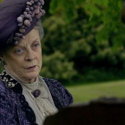 The Dowager looking severe in purple.