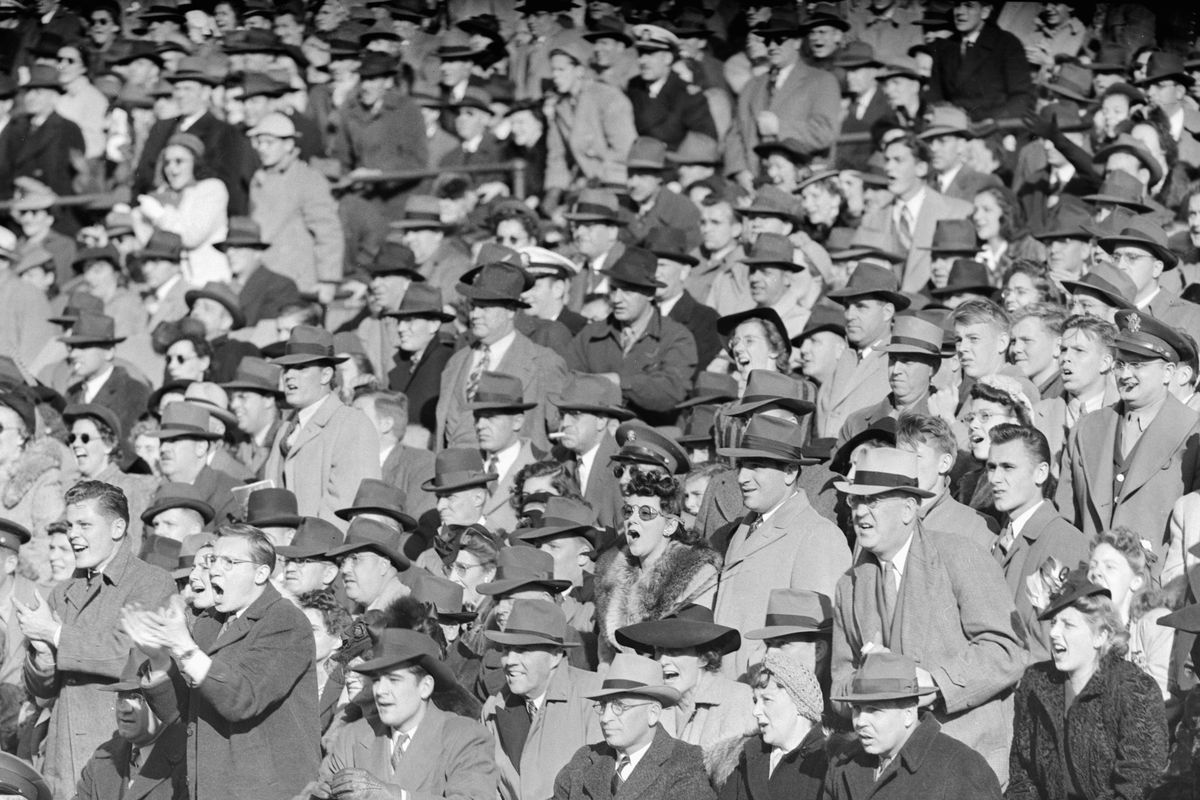 Fans at a Wrigley field baseball game in Chicago, ca. 1946