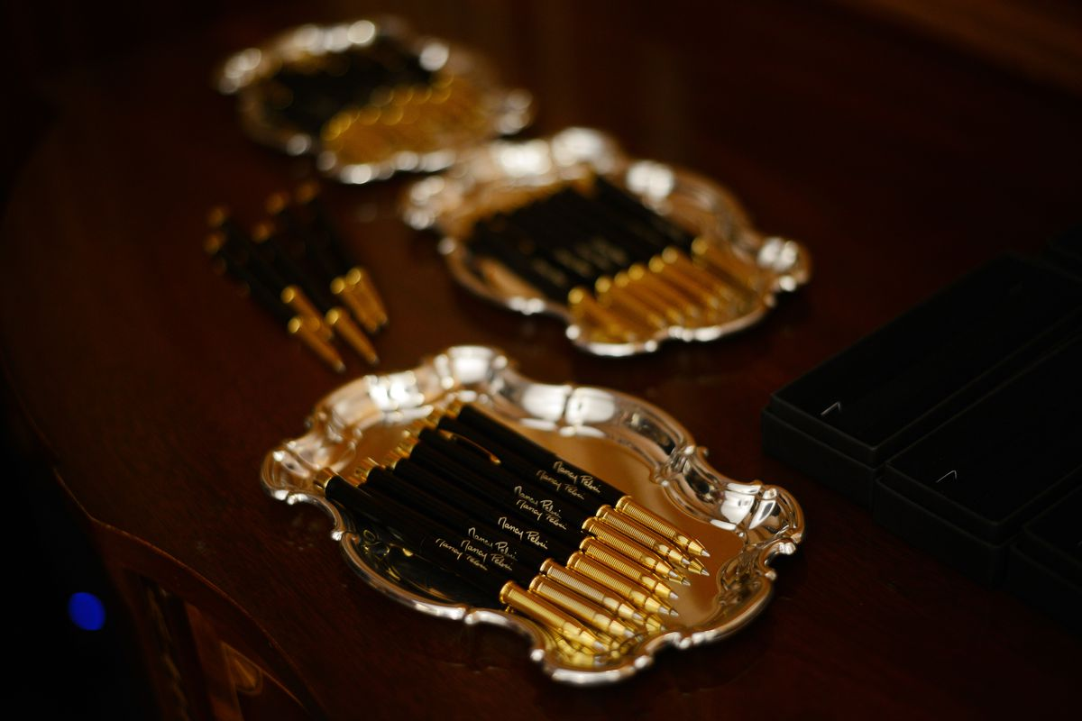WASHINGTON, D.C. - JANUARY 15: Pens are placed on a table for