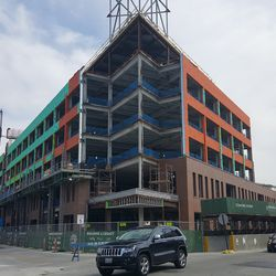 View of the northwest corner of the plaza building from Clark & Waveland -