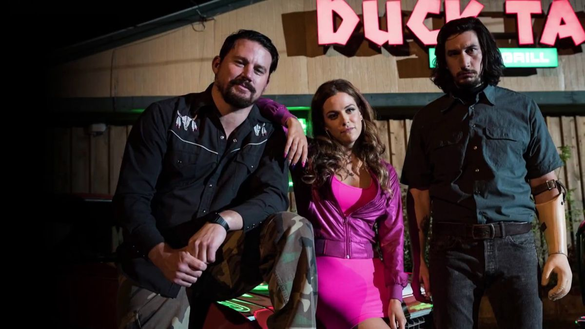 Channing Tatum, Riley Keough, and Adam Driver in Logan Lucky