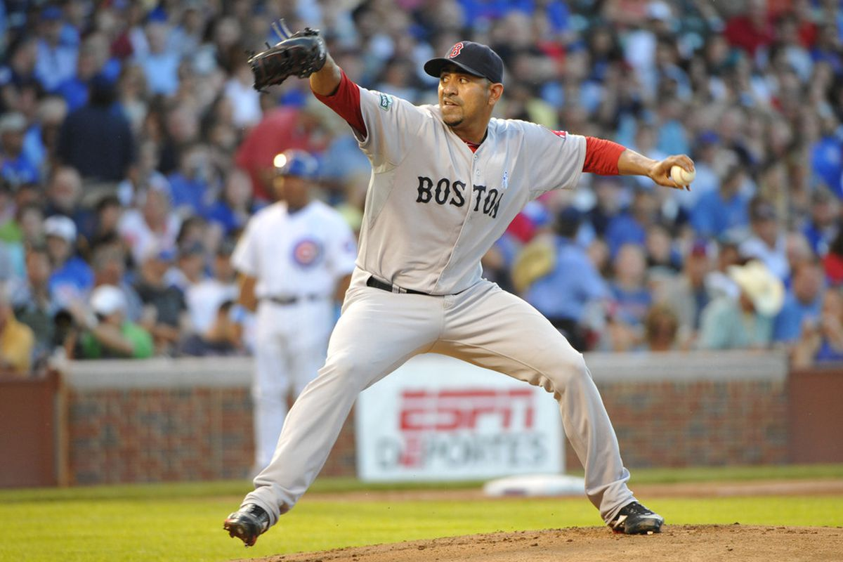 June 17, 2012; Chicago, IL, USA; Boston Red Sox starting pitcher Franklin Morales (46) delivers a pitch against the Chicago Cubs during the first inning at Wrigley Field.  Mandatory Credit: Rob Grabowski-US PRESSWIRE