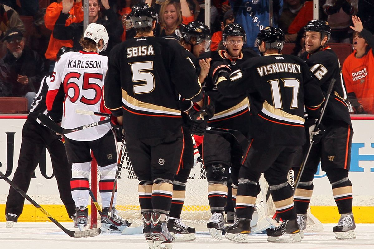 Erik Karlsson was the Ducks' best player tonight. (Photo by Victor Decolongon/Getty Images)