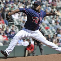Minnesota Twins pitcher Francisco Liriano throws against the Los Angeles Angels in the first inning of a baseball game Thursday, April 12, 2012, in Minneapolis.