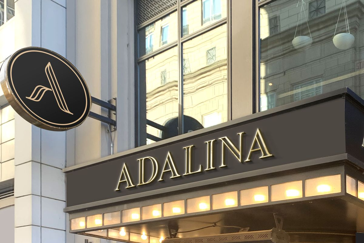 """A rendering of a restaurant entrance with a big sign that reads """"Adalina"""""""