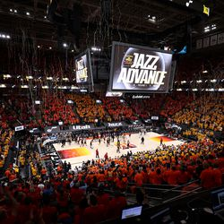 Streamers fall as the Utah Jazz defeat the Memphis Grizzlies in Game 5 of an NBA basketball first-round playoff series at Vivint Arena in Salt Lake City on Wednesday, June 2, 2021.