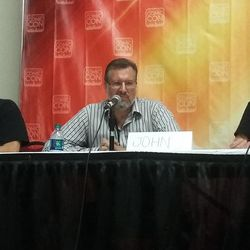 """From left: Researcher John W. Morehead, editor John K. Lundwall and writer Dawn Pink participate in the """"Harry Potter is my bible"""" panel discussion at Salt Lake Comic Con."""
