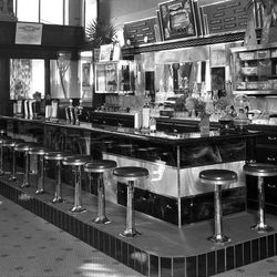 This 1939 photo of a lunch counter brings back good memories of early fast food and a ice cream shake.