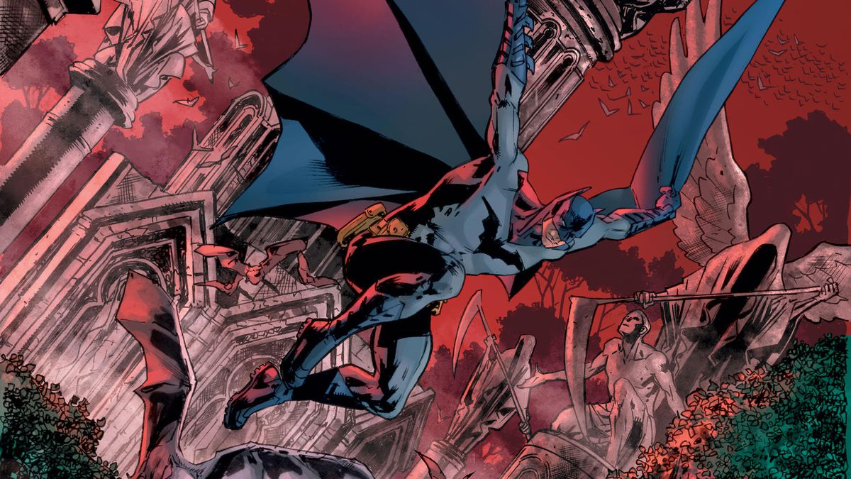 Batman swooping through an exaggerated graveyard sky in promotional art for The Batman's Grave, DC Comics (2019).